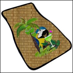 Parrot Margaritta and Happy Palm Tree Art Car Mat set by maremade, $69.99