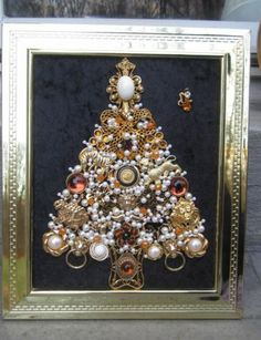 Vintage OOAK Framed Costume Jewelry Christmas Tree Jungle Fever Art by Michelle | eBay $119