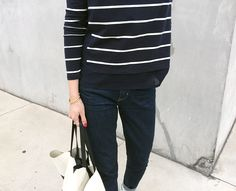 """""""A casual look wearing a striped top, dark blue jeans"""" - Funda for #TommyHilfiger"""