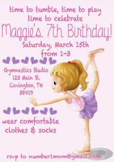 Gymnastics Birthday Party Printable Invitation by penandinkprints, $18.00