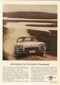 1960 Corvette Ad - adventure is Corvette's business!