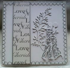 Tattered Lace hearts border & sweet pea die cuts with Kanban paper & Tonic first dance die cut. Made by Lynne Lee.