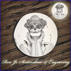 Day of the Dead beauty engraved on a buffalo nickel. Hobo Nickel, Buffalo, Jr, Coins, Personalized Items, Beauty, Rooms, Beauty Illustration, Water Buffalo