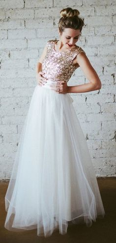 0439ff160a5 Sequin Top Tulle Skirt Long Bridesmaid Dresses