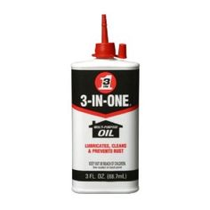 3-IN-ONE Oil: A much cheaper version of WD-40, this should be in everyone's toolbox.  Good for removing rust from bicycle chains or cleaning and lubricating the rails of a sliding glass door.  I first saw my dad use it to take the squeak out of our laundry room doors by adding a drop or two to the hinges.  Great stuff.