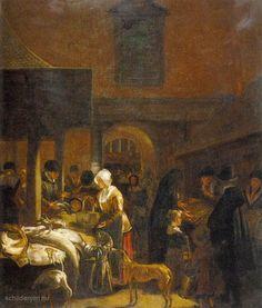 """Painting """"De oude vismarkt op de Dam, Amsterdam"""" by Emanuel de Witte - www.schilderijen.nu"""