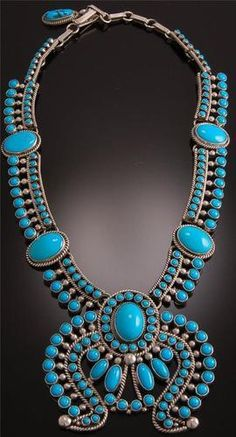 Contemporary Turquoise Squash Blossom by DK and Alice Lister ~ WOW