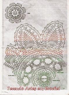Tecendo Artes em Crochet: Centro de Mesa Abacaxis com Flores - Agora em Branco!