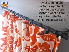 "Curtain rod made from electrical conduit $2 AND how to make faux pinch pleat!!  Brilliant no sew ""pleats""!!"