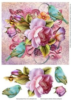 Birds and Flowers Topper with Decoupage on Craftsuprint - Add To Basket!