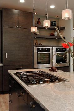 """Granite called """"Mother of Pearl."""" gray green w/drk gray&caramel veins more like marble than granite. The less dense it is the more prone to staining. Beautiful Kitchens, Cool Kitchens, Kitchen Countertops, Kitchen Appliances, Manhattan Real Estate, Apt Ideas, House Ideas, Island With Stove, Southern Living Homes"""
