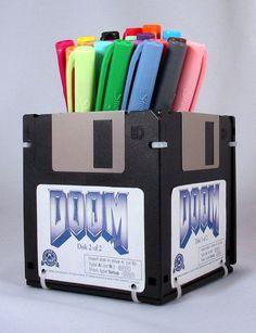 DOOM Video Game Floppy Disk Pen and Pencil Holder on Etsy, $6.99
