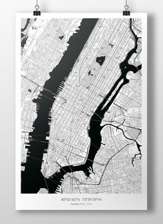 We designed this map of Manhattan, New York City, with the help of OpenStreetMap geographic data. Thus, it shows accurately the details of the city: streets wit New York City Map, New York Art, City Maps, Manhattan Map, New York City Manhattan, Carte New York, City Map Poster, Map Posters, Map Design