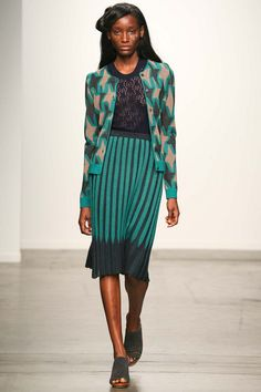 "A Detacher Spring 2015 Ready to Wear collection had the vibe of hand me down from your mother pieces with prints that were made for children with prints of ""daydreams"". Knit skirts that were cut and loose just below the knee with sheer tops and knit cardigans seemed like a typical mother's day wardrobe from the 70's. 3/26/15"