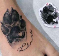 Ich mache das mit Mikas Pfotenabdruck Tattoo - tattoo style I do that with Mika's paw p Pretty Tattoos, Love Tattoos, Beautiful Tattoos, Body Art Tattoos, Small Tattoos, Tatoos, Awesome Tattoos, Sexy Tattoos, Dog Memorial Tattoos