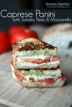 Caprese Panini with Tomato, Pesto & Mozzarella Cheese - fresh tomatoes and basil from the garden, yum!   @thedailybasics  ♥♥♥