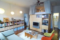 awesome apartment with custom built lofted bed with office underneath!