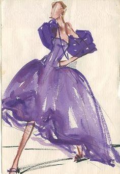 Joe Eula fashion illustrations for Halston