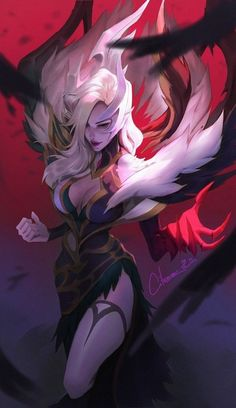 I don't mind being rooted years by this Coven Morgana 😍 . Artist: Citemer Liu via artstation . Lol League Of Legends, Morgana League Of Legends, League Of Legends Characters, Dark Fantasy Art, Fantasy Girl, Final Fantasy, Character Design Inspiration, Character Illustration, Fantasy Characters
