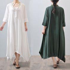 Women summer 3/4 sleeve loose cotton linen dress