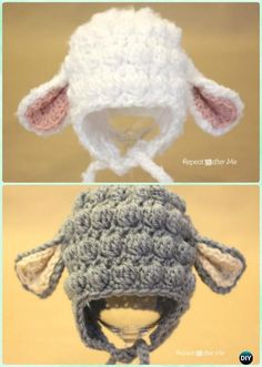 Crochet Bobble Stitch Lamb Earflap Hat Free Pattern Instructions-DIY #Crochet Ear Flap #Hat Free Patterns