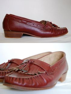 Vintage 1970s Shoes / Mahogany Loafers / Boat Shoes Size by mychu
