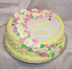 basket weave cakes | this is a two tone basket weave cake with royal icing daisies and ...