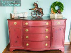 Red Plaster Painted Vintage Dresser Makeover - Restoration Redoux
