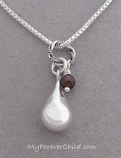 This dainty and affordable sterling silver tear drop memorial pendant necklace with gemstone dangles honors the loss of a spouse, parent, son, daughter, brother, sister, friend |Quick Ship