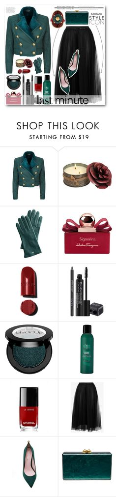 """""""Last-Minute Holiday Gifts by sasoza"""" by sasooza ❤ liked on Polyvore featuring Balmain, Mark & Graham, Salvatore Ferragamo, Rodial, V76 by Vaughn, Chanel, Valentino, Edie Parker and Gucci"""