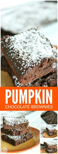 Pumpkin Chocolate Brownies! Super easy dessert recipe for Fall! Pumpkin Treats, YES PLEASE!