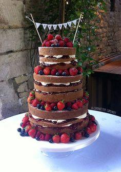 I created this 'naked' Victoria sponge cake for Jess' wedding cake at Cripps Barn, Bibury!