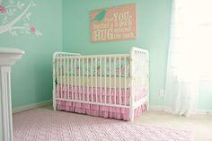Pink and aqua DIY nursery with homemade modern shabby chic baby bedding set.