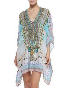 Camilla  Silk Short Lace-Print Caftan Coverup, Jodhpur
