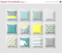 SALE Throw Pillow Teal Yellow Grey Accent Pillow by HLBhomedesigns
