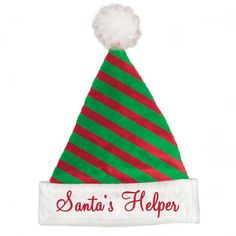 Red and Green Striped Felt Santa Hat   Wally's Party Factory #Christmas #Costume #SantaHat