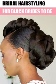 Easy Bridal hairstyling for black brides #blackbrides #hairstyling #naturalhair Headband Hairstyles, Pretty Hairstyles, Braided Hairstyles, Updo Hairstyle, Natural Hair Updo, Natural Hair Styles, Short Hair Styles, Black Wedding Hairstyles, Black Women Hairstyles