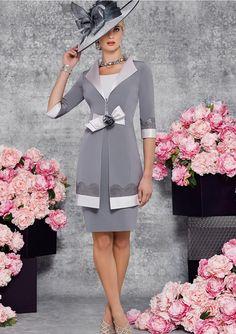 Sheath/Column Short Sleeve Bateau Knee-Length Satin Mother Of The Bride Dress With Appliqued