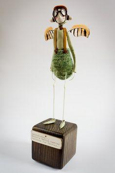 Brain's Fairy Aiding Inventions - Samantha Bryan Bird Sculpture, Soft Sculpture, Sculptures, Little Critter, Fairy Dolls, Native Art, Whimsical Art, Funny Art, Creative Gifts