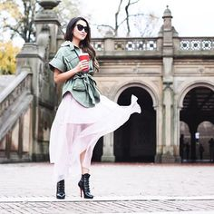 New blog post on www.wendyslookbook.com [11.11.15]! Playing with contrast, I paired a @marissawebbnyc soft silk skirt with a structured olive jacket and felt like an army of one walking through the park  |  by @choemoonkon
