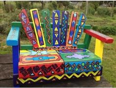 Hand Painted Garden Bench from Barbara Vallerga's First Grade Class - BiddingForGood Fundraising Auction