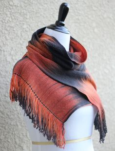 Hand woven scarf, #pashmina made in pooling technique. This means that color is gradually changes from black to orange.  My scarves are unique and OOAK as it is almost impos... #kgthreads
