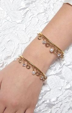 Maria Francesca Pepe SS17 'PRINCESS OF PEARLS' CUFF BRACELET WITH PEARL CHARMS Bangles, Bracelets, Charms, Feminine, Pearl, Princess, Luxury, Gold, Jewelry