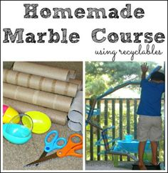 homemade marble course, marble course with toilet paper tubes, homemade marble run, marble run