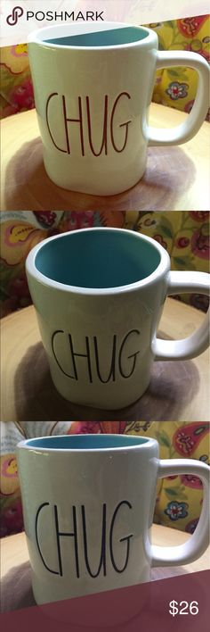 Rae Dunn Chug Big Letter Mug Teal Rae Dunn Chug  Mug Big letter Teal inside  Will bundle  No chips or cracks   Ships same or next day Experienced packers  Rae Dunn Big letter mugs Colored  Farmhouse chic Wedding Anniversary  Graduation  Beach  Vacation house  Lake house Hospitality  Travel agent Rae Dunn Other