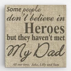 My Dad My Hero Canvas Sign - Personalized