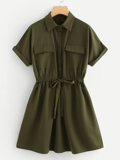 Casual Shirt Plain Shift Trapeze Collar Short Sleeve Roll Up Sleeve Natural Army Green Short Length Drawstring Waist Utility Shirt Dress Drawstring dresses 2020 Girls Fashion Clothes, Teen Fashion Outfits, Fashion Dresses, 2000s Fashion, Modest Fashion, Fashion Styles, Fashion Tips, Cute Casual Outfits, Stylish Outfits