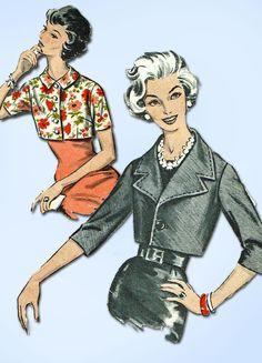 1950s Vintage Advance Sewing Pattern 8878 Misses Waist Jacket Set Sz 10 31 Bust…