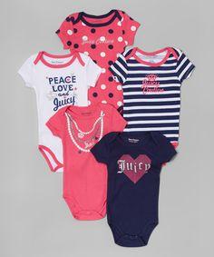 Another great find on #zulily! Navy Heart & Pink Dot Logo Bodysuit Set - Infant #zulilyfinds