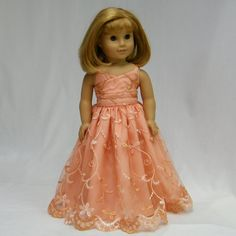 Peach Lace Formal for 18 Inch Dolls by juliascreations on Etsy, $30.00